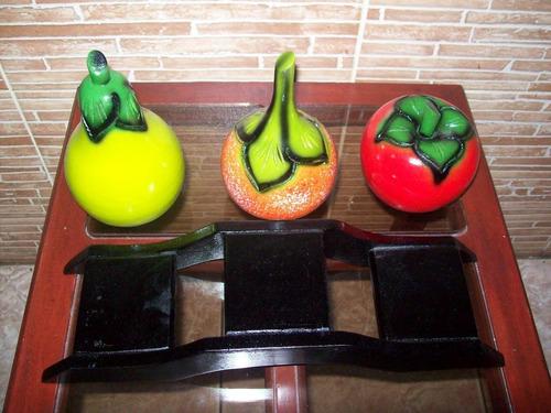 frutero y base podio frutas roble artesania hogar decoracion