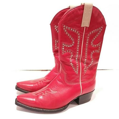 frye botas rojas cuero tachoneado suela cuero tc-4cm t-27mx