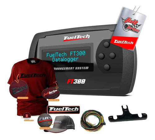 ft300 fueltech c/ chicote+ mega brinde camiseta bordo gel bc