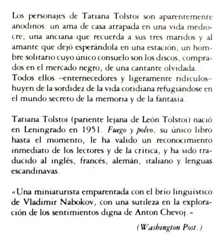 fuego y polvo tatiana tolstoi novela ediciones grijalbo et