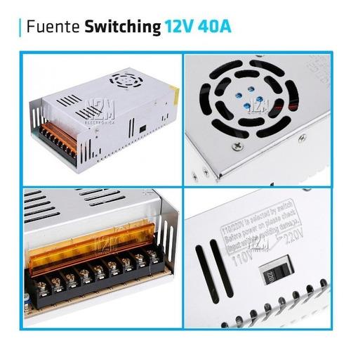 fuente 12v 40a metalica regulada switching tira led cctv