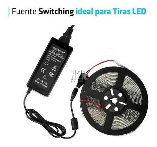 fuente 12v 5a plastica transformador switching tira led cctv