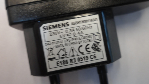 fuente 5v 0.4a con 2 cables 2 patas siemens e8043