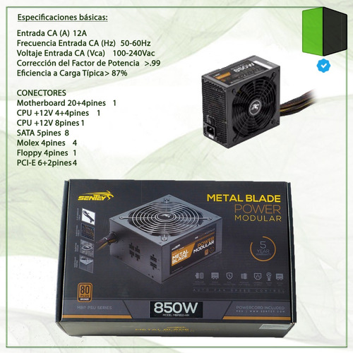 fuente 850w sentey mbp850-hm monorail 70a pc 80 plus bronze