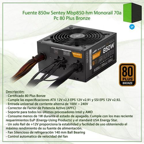 fuente 850w sentey mbp850-hm monorail 70a pc 80 plus bronze