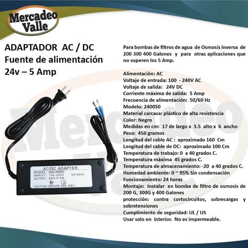 fuente adaptador 24v-5a + bomba 400g osmosis filtro agua