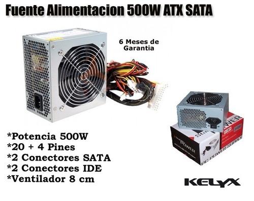 fuente alimentacion 500w 24 pines 20+4 sata atx pc