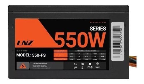 fuente atx gamer pc lnz 550w 40a cooler 80mm sata 500w +