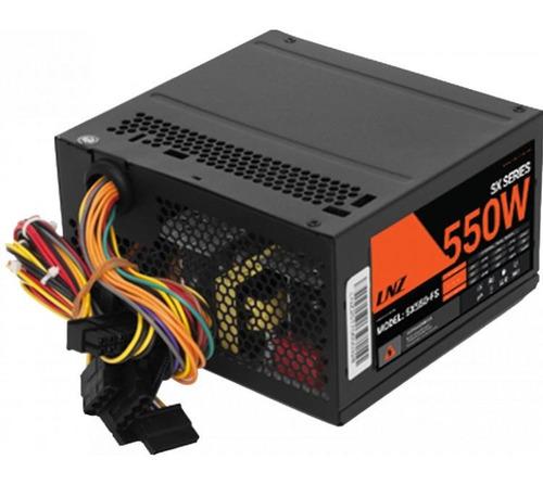 fuente atx gamer pc lnz 550w reales 32a cooler 80mm 3 sata