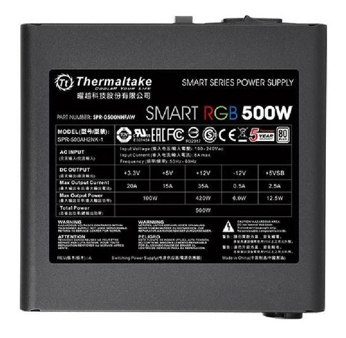 fuente atx thermaltake smart rgb 500w 100-500mseg 80plus pce