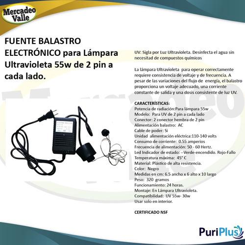 fuente balastro uv 55w 2pin lampara ultravioleta filtro agua