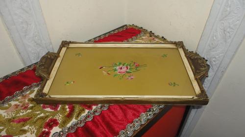 fuente bandeja rococo en madera antigua pintada a mano veala