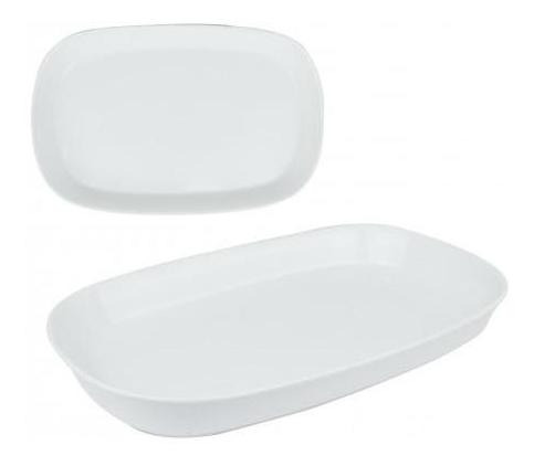 fuente ceramica blanca oval 31x20x3.5 cm