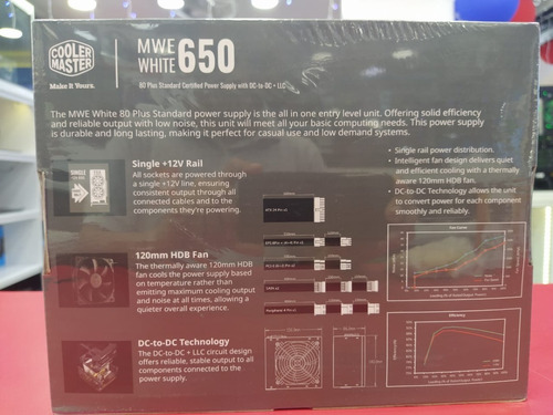 fuente cooler master mwe v2 650w 80 plus white