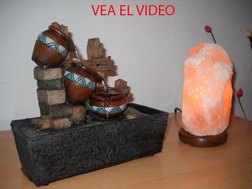 fuente de agua feng shui c/luz y lámpara de sal