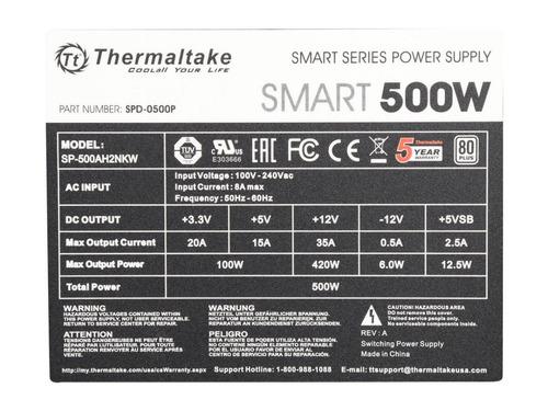 fuente de alimentación pc thermaltake 500w 80 plus 40amp