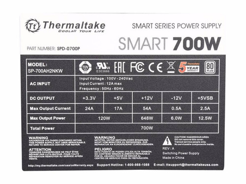 fuente de alimentación thermaltake 700w reales 80 plus white