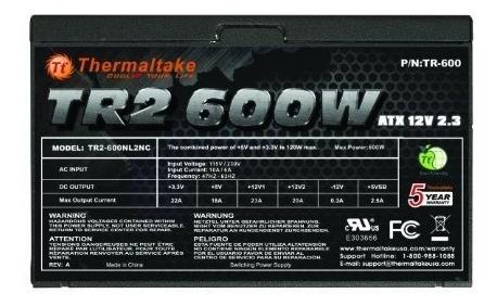 fuente de alimentacion thermaltake tr2 600w atx 12 v23 tr600