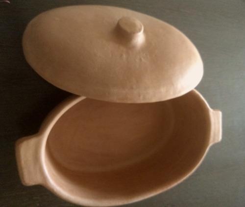 fuente de barro ovalada 4 litros  s/esmalte horno