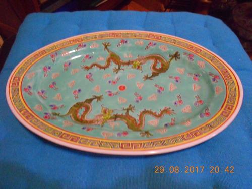 fuente de ceramica oriental pintada a mano origen china