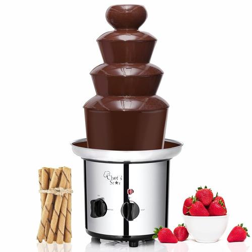 fuente de chocolate chef´s star 3 niveles en acero