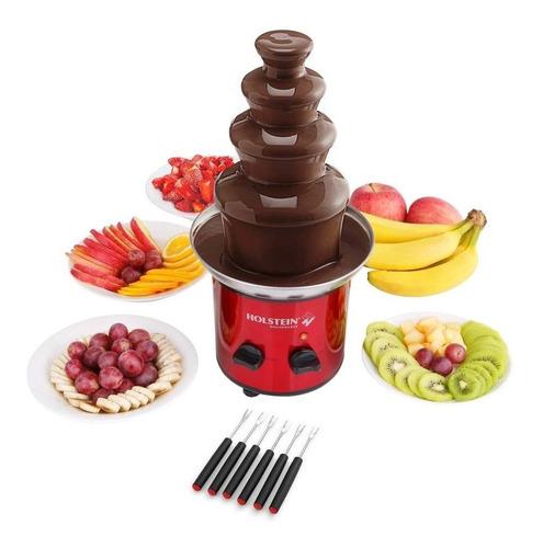 fuente de chocolate fondue 1lt 46cm 4 niveles holstein rojo