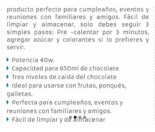 fuente de chocolate kalley k-fch190s  inoxidable