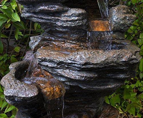 Fuente De Jardín De Roca Dawson Con Luces Led - Caracterí ...