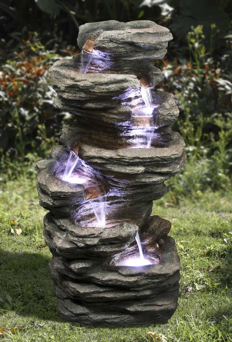 Fuente de jard n zenvida en cascada de piedra para exterior 3 en mercado libre - Fuentes para jardin de piedra ...