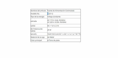 fuente de poder 25w 12v 2.1a para leds y cctv