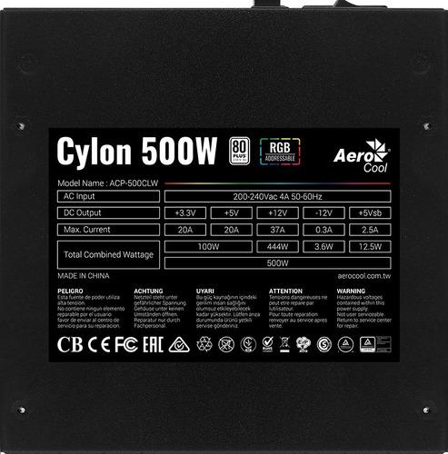 fuente de poder aerocool cylon 500w 80+bronce rgb, atx