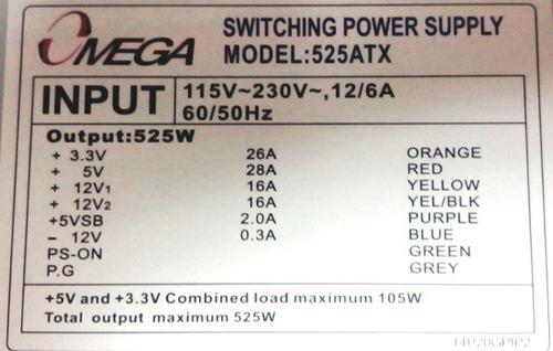 fuente de poder atx 525w caja ide sata pc computadora ml