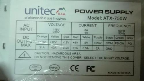fuente de poder atx 750 watts 20/24 pines para computador