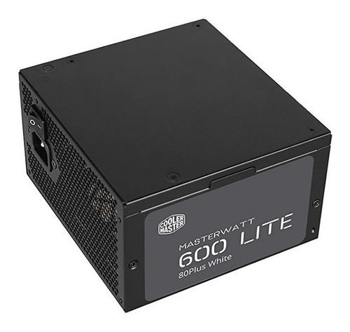 fuente de poder cooler master 600w 80 white master watt lite