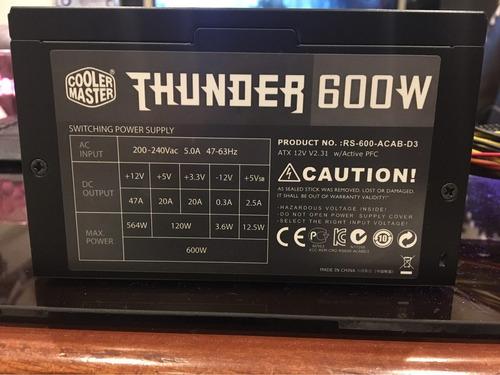 fuente de poder cooler master thunder edition 600w