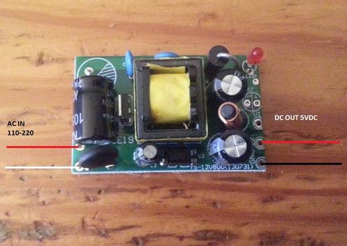 fuente de poder de 110-220 vac a 5 vdc 1.5a 7.5w