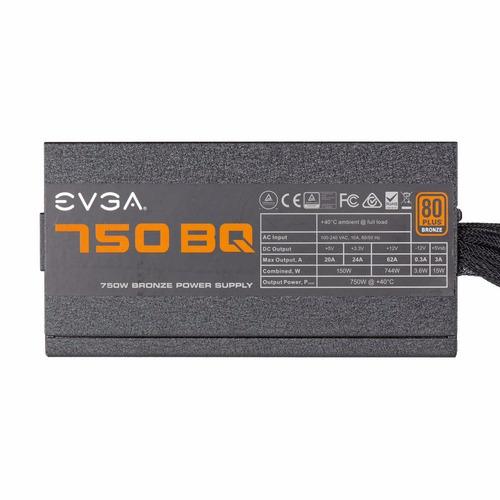 fuente de poder evga 750 bq, 80+ bronze 750w, semi modular