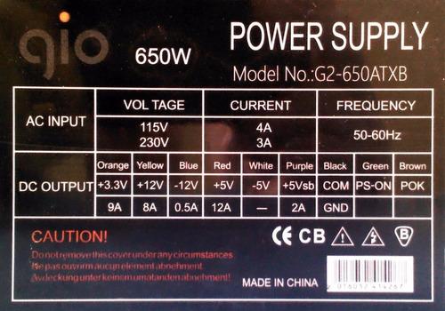 fuente de poder gio 650w  en oferta