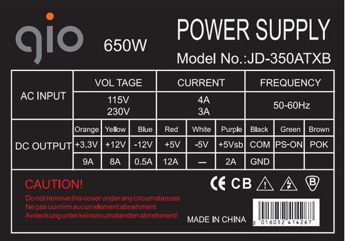 fuente de poder gio atx 650w 20+4pines 6 pines tdv fan 12cm