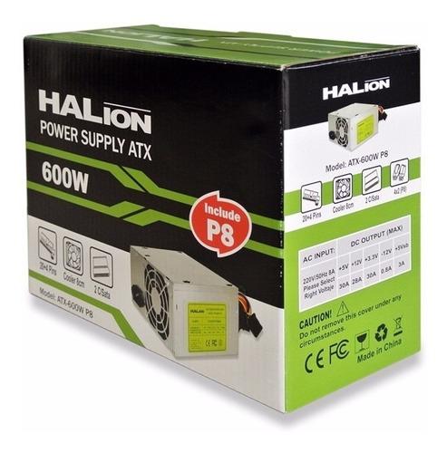 fuente de poder halion atx 600w con conector p8,nueva