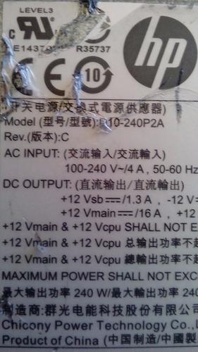 fuente de poder hp modelo d10-240p2a