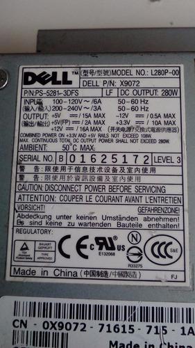fuente de poder marca dell modelo l280p-00 p/n x9072