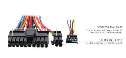 fuente de poder pc 500w atx slim edge systems s500 es-05002