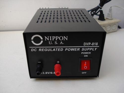 fuente de poder regulada 6-8am 13.8v. nippon u. s. a. dvp818