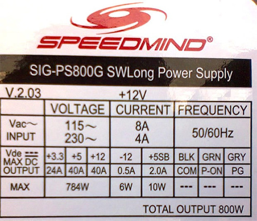 fuente de poder speedmind gamer 800w 40a pci-e 6, 8, 20+4