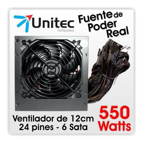 fuente de poder unitec 550 watts reales, 20+4 pines, 6 sata