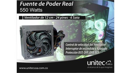 fuente de poder unitec 550w reales cable optimizado