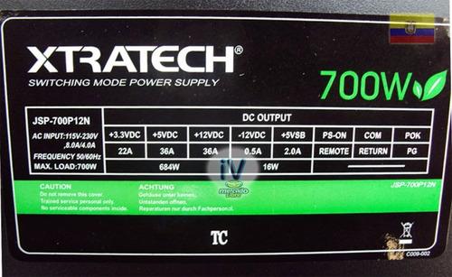 fuente de poder xtratech atx 700w 36a silenciosa cable largo
