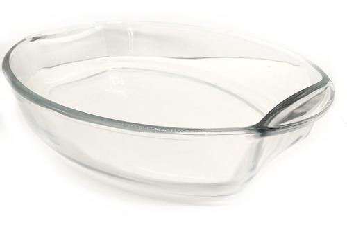 fuente de vidrio templado oval grande 39 x 27 cm 4.10 litros