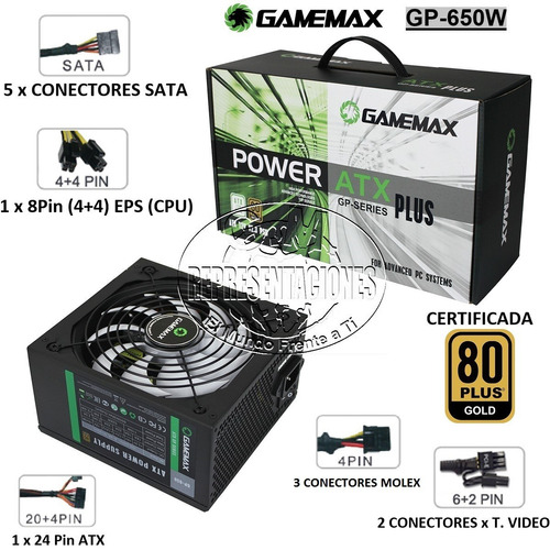 fuente gamemax 650w 80 plus bronce certificada pin 6+2 8 x 2